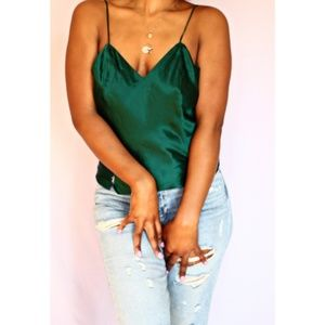 Tops - Deep Green Silk Camisole